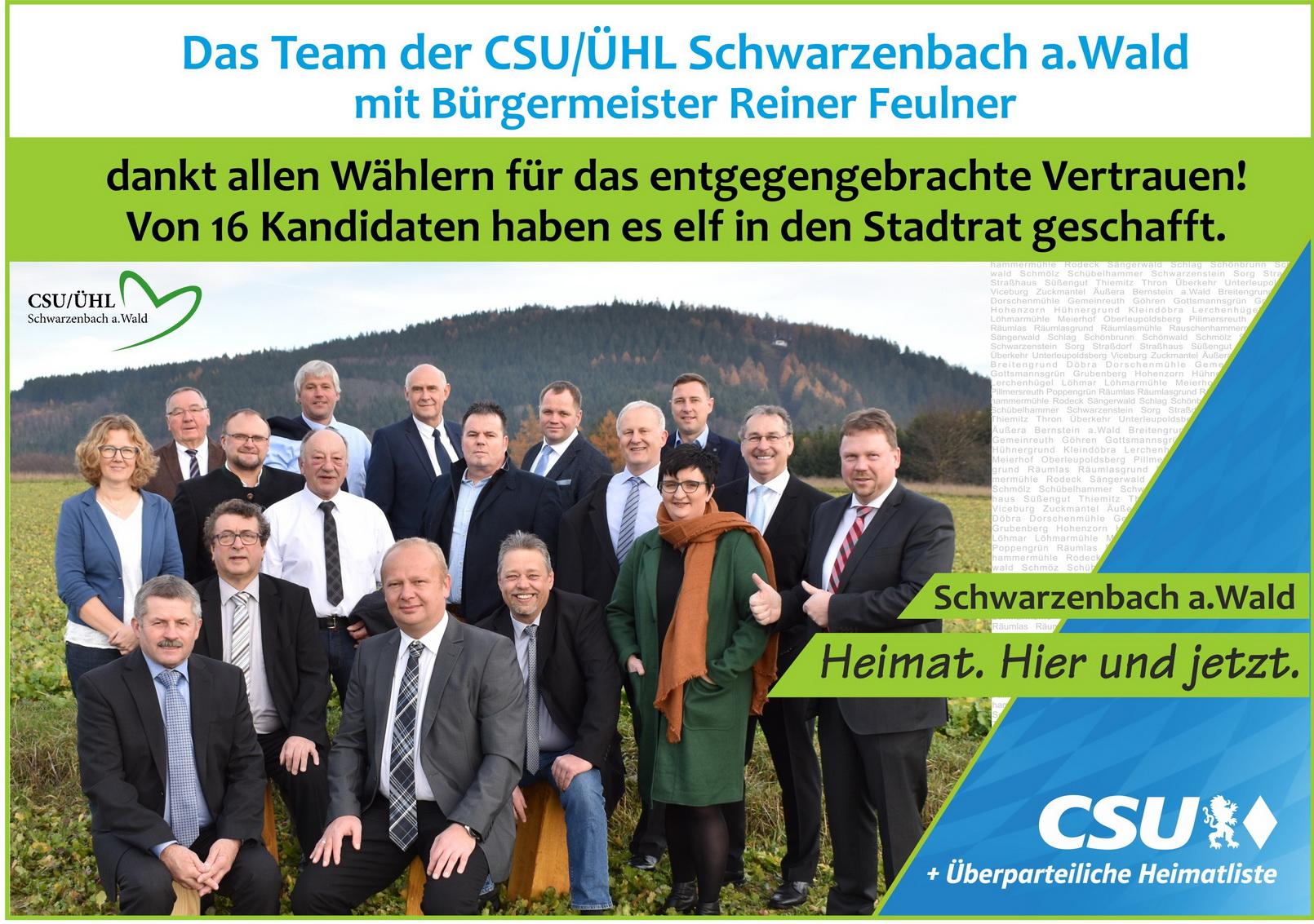 Das Team der CSU/ÜHL dankt allen Wählern